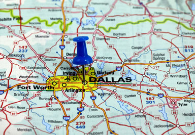 map Dallas pin for online marketing